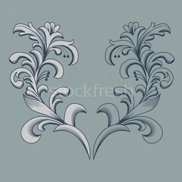 Vintage floral marco elemento diseno vector Foto stock © blotty