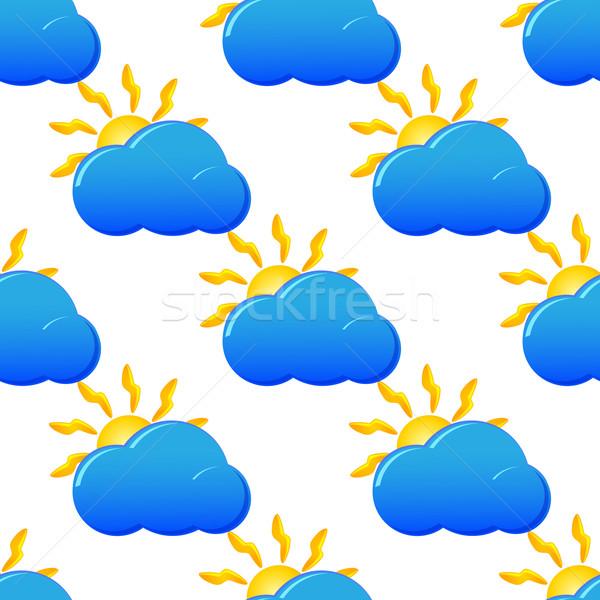 Szokatlan végtelenített vektor minta időjárás ikonok Stock fotó © blotty