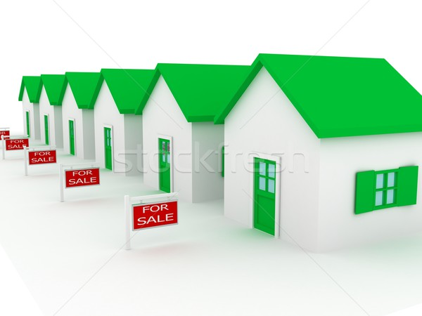 Stock photo: Group of houses on sale