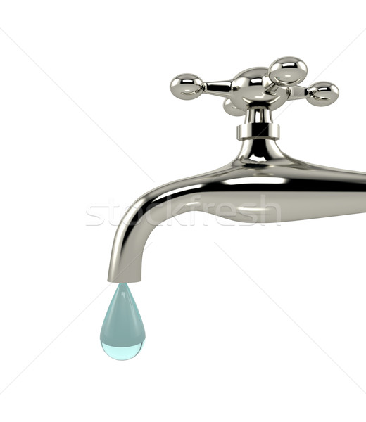 Dripping tap with drop on white background Stock photo © blotty