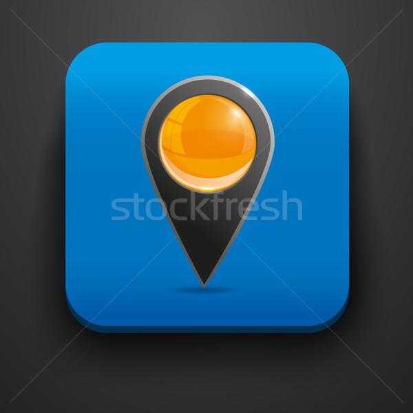 Navigator symbol icon on blue Stock photo © blotty
