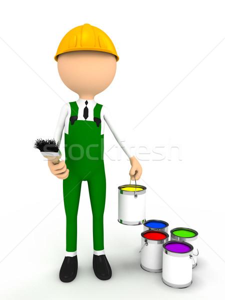 3 ª persona cepillo color ordenador generado imagen Foto stock © blotty