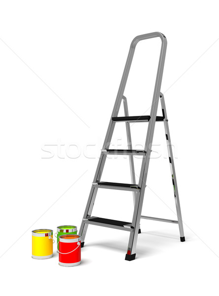 metal stairs stepladder and paint Stock photo © blotty