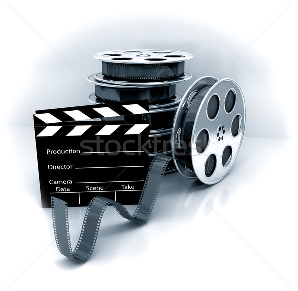 Stock photo: Film Slate with Movie Film Reel