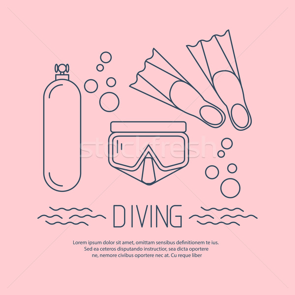Diving icon with flippers and other equipment Stock photo © blotty