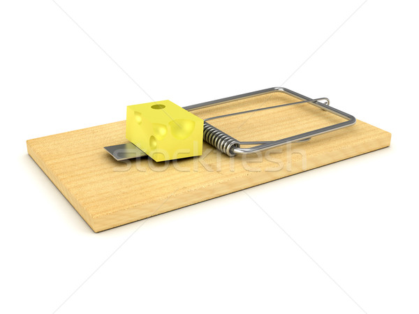 Wooden mousetrap over white Stock photo © blotty