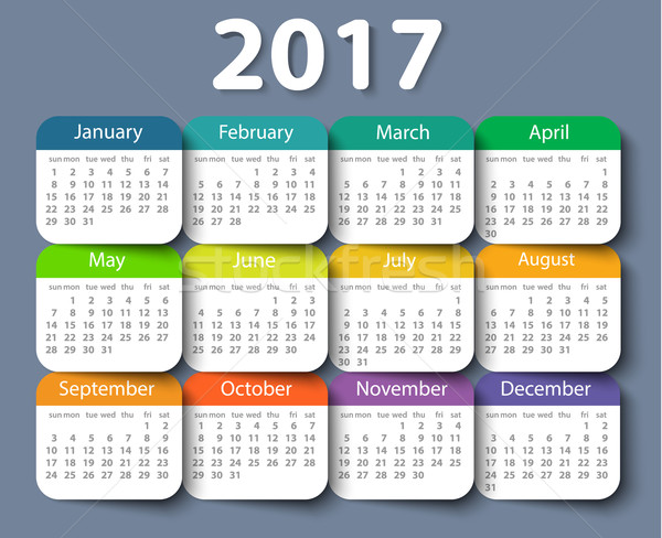 Calendar 2017 year vector design template. Stock photo © blotty
