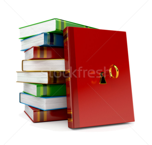 Сток-фото: книга · ключевые · блокировка · белый · 3d · визуализации · металл