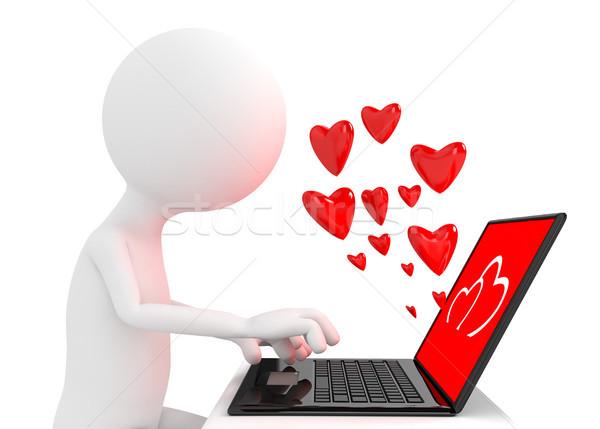 Oddać osoby laptop Internetu serca podpisania Zdjęcia stock © blotty