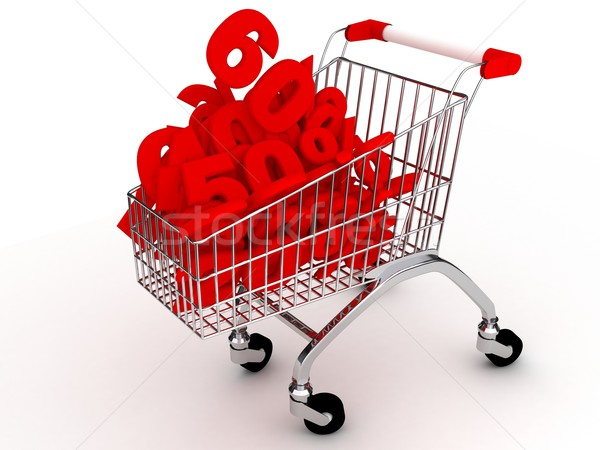 Shoping cart over white Stock photo © blotty