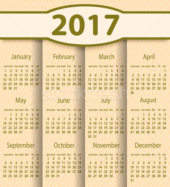 Calendar 2017 year vector design template. Stock photo © blotty