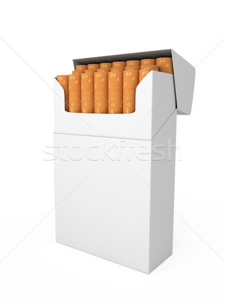 Foto stock: Abrir · completo · empacotar · cigarros · isolado · fundo