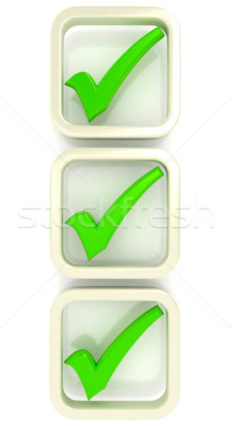 Stockfoto: Controleren · lijst · symbool · witte · 3D · gerenderd