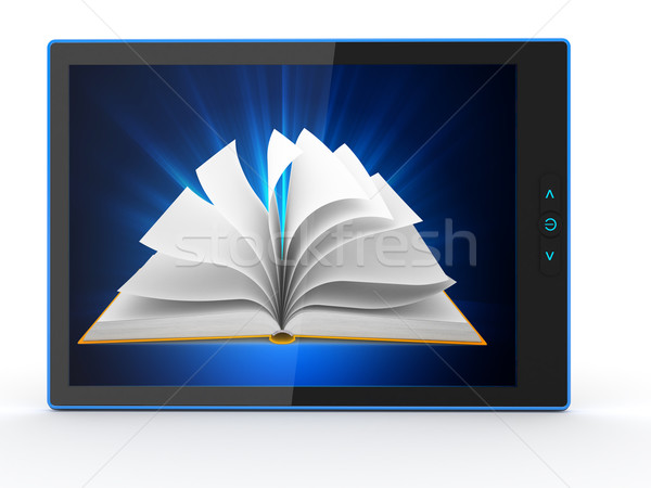 E-book reader. Books and tablet pc. 3d Stock photo © blotty