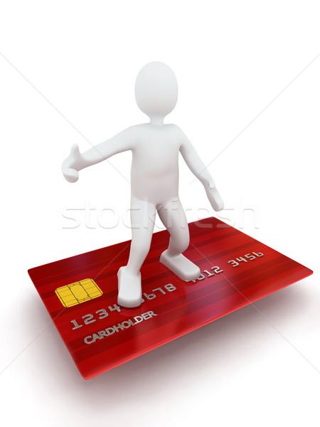 Stock fotó: 3d · személy · hitelkártya · renderelt · kép · arany · fehér