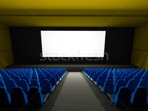 Film teatr 3D świadczonych obraz niebieski Zdjęcia stock © blotty