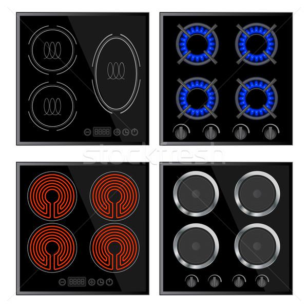 Kitchen - hobs set, household appliances Stock photo © blotty