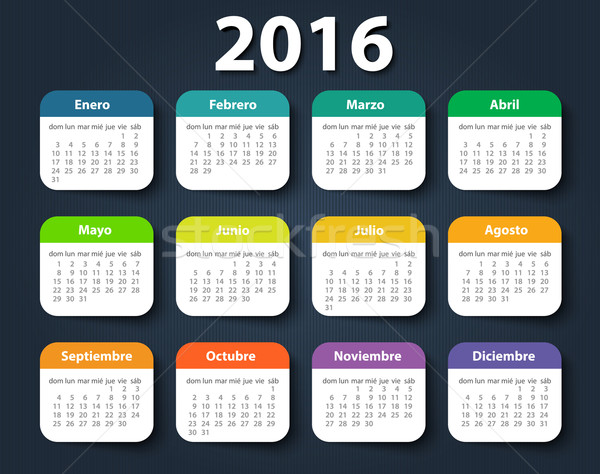 Calendar 2016 year vector design template in Spanish. Stock photo © blotty