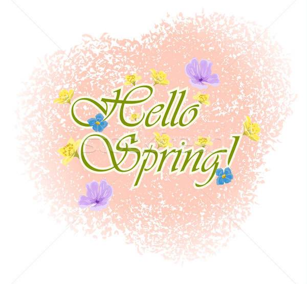 Beautiful Typographical Spring Background with flowers Stock photo © blotty