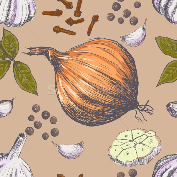 Dibujado a mano sin costura establecer orgánico especias naturaleza Foto stock © blotty