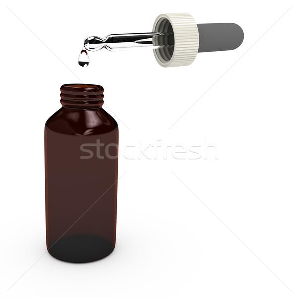 Glass bottle over white background Stock photo © blotty