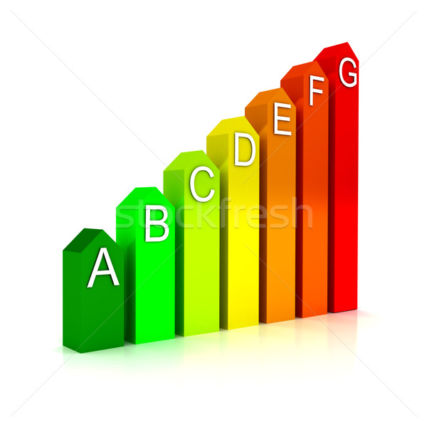 Stock photo: Energy efficiecy scale over white background