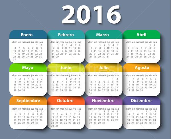 Calendar 2016 year vector design template in Spanish. Stock photo © blotty