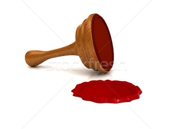Red wax seal over white background Stock photo © blotty