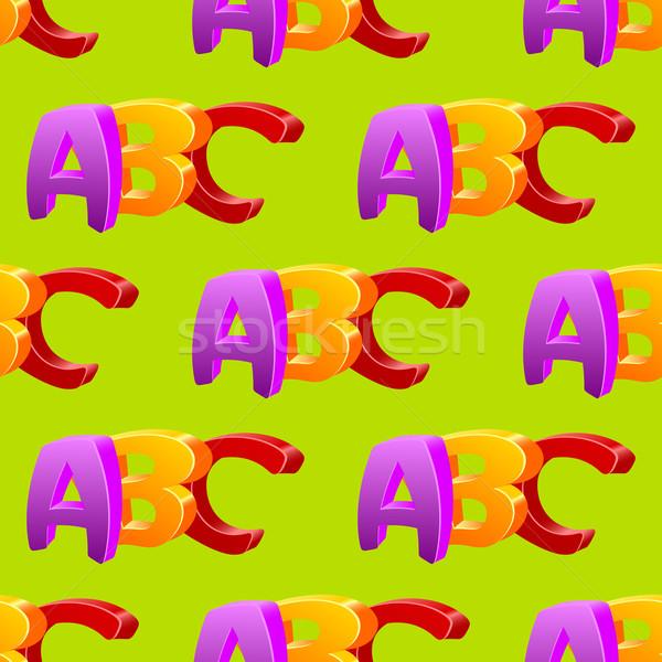 Childlike doodle ABC seamless pattern, flat design. Stock photo © blotty