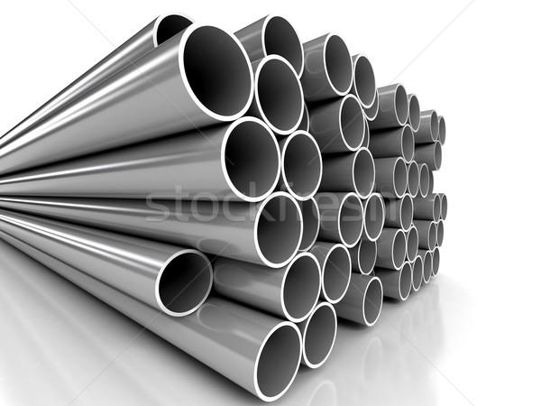 Metal tubes over white background Stock photo © blotty