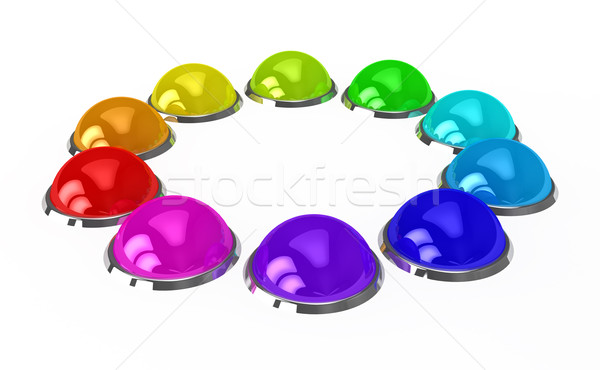 Color buttons over white background Stock photo © blotty