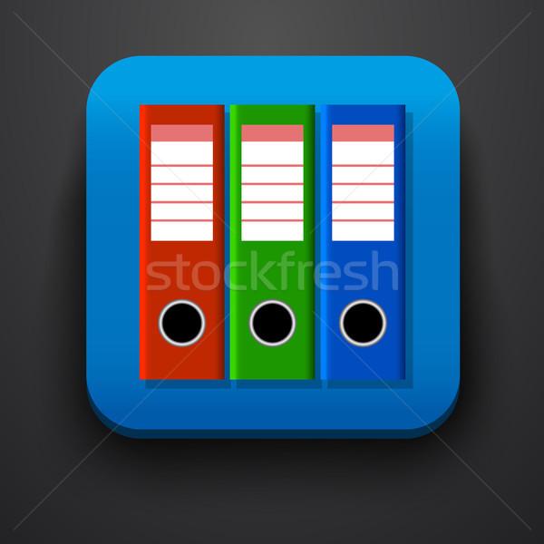 Folder symbol icon on blue Stock photo © blotty