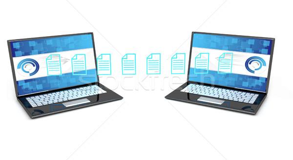 データ 転送 3dのレンダリング コンピュータ ノートパソコン 技術 ストックフォト © blotty