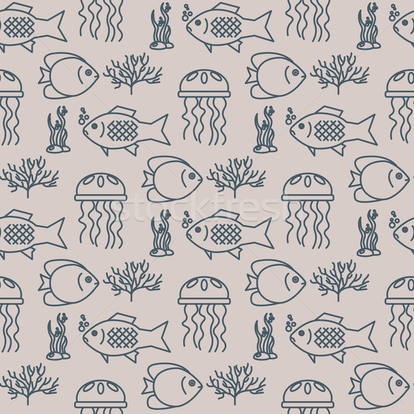 Seamless pattern with jellyfish and fishs Stock photo © blotty