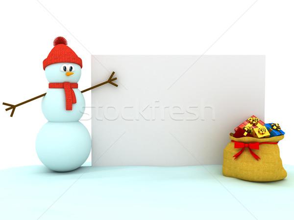 3D snowman biały komputera wygenerowany obraz Zdjęcia stock © blotty