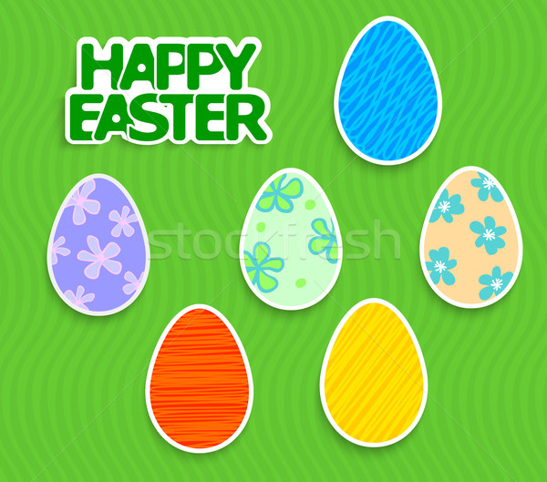 Easter background with eggs sticker Stock photo © blotty