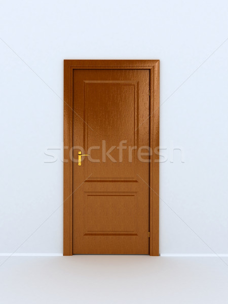 wooden door over white background Stock photo © blotty