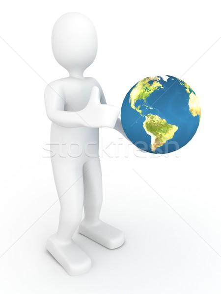 3d persoon wereldbol 3d render abstract technologie aarde Stockfoto © blotty