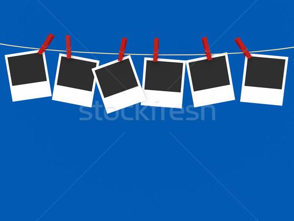 Wasknijper Blauw 3d render business ontwerp frame Stockfoto © blotty