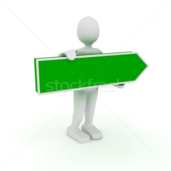 3d person with arrow sign Stock photo © blotty