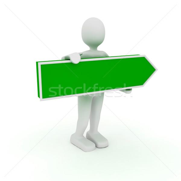 3d kişi ok işareti imzalamak yeşil renk ok Stok fotoğraf © blotty