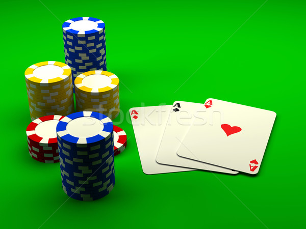 Playing cards with chips Stock photo © blotty