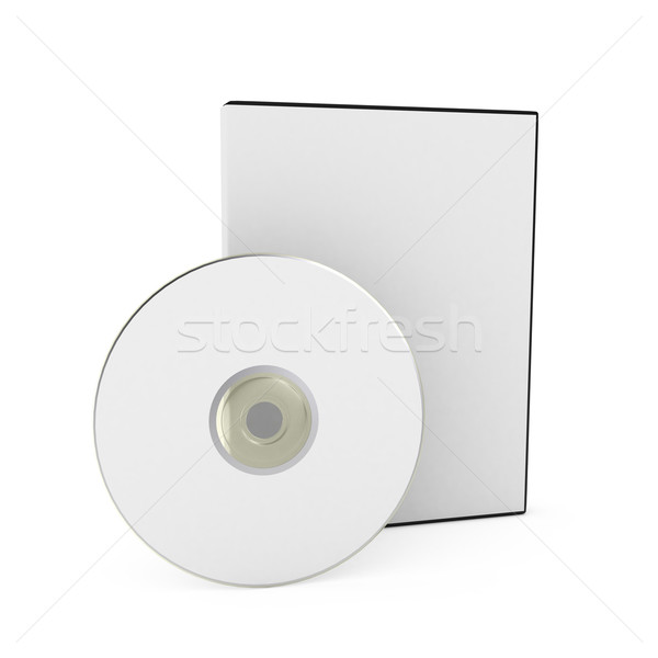 CD/DVD disk with box over white background Stock photo © blotty