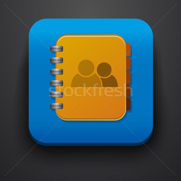 контакт символ икона синий компьютер служба Сток-фото © blotty
