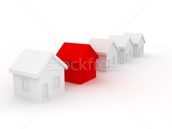Gruppo case vendita rendering 3d costruzione modello Foto d'archivio © blotty