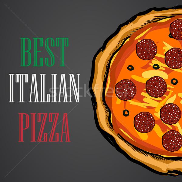 ピザ 食品 メニュー カフェ パンフレット ベクトル ストックフォト © blotty