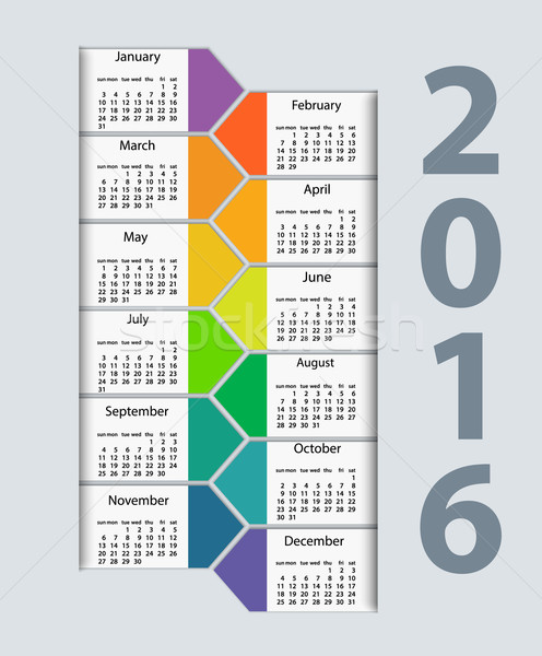 Calendar 2016 year vector design template. Stock photo © blotty