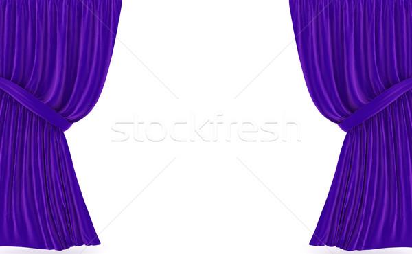 Függönyök fehér 3D renderelt kép fény Stock fotó © blotty