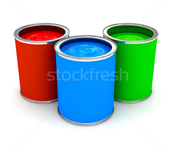 RGB color paint can over white Stock photo © blotty