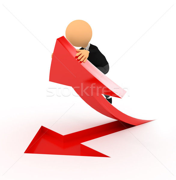 3 ª persona rojo flecha blanco ordenador generado Foto stock © blotty